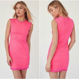 Hot Pink Retro Muscle Tee Bodycon Dress